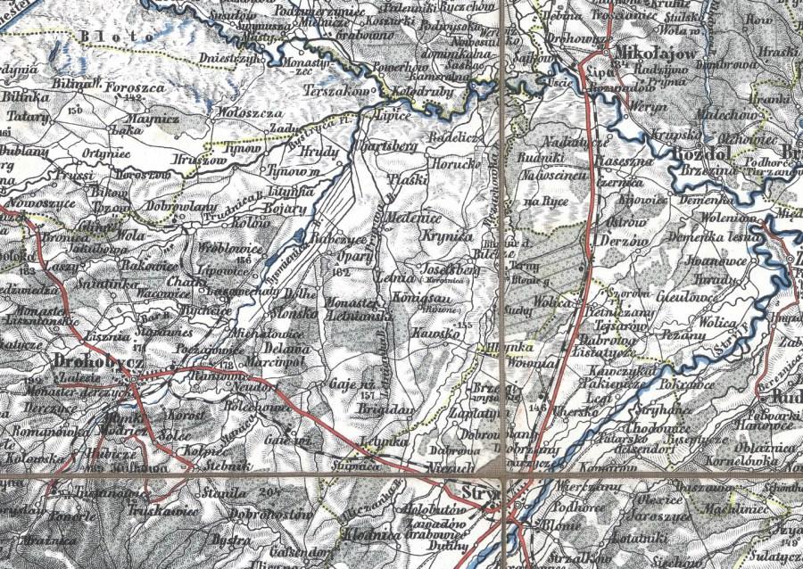 Мапа 1875 року, де поруч з назвою Кьонігсау фігурує назва Рівне