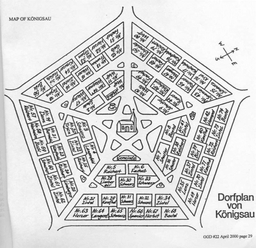 Детальний план німецької колонії Кьонігсау (с. Рівне), складений в першій половині XX ст.