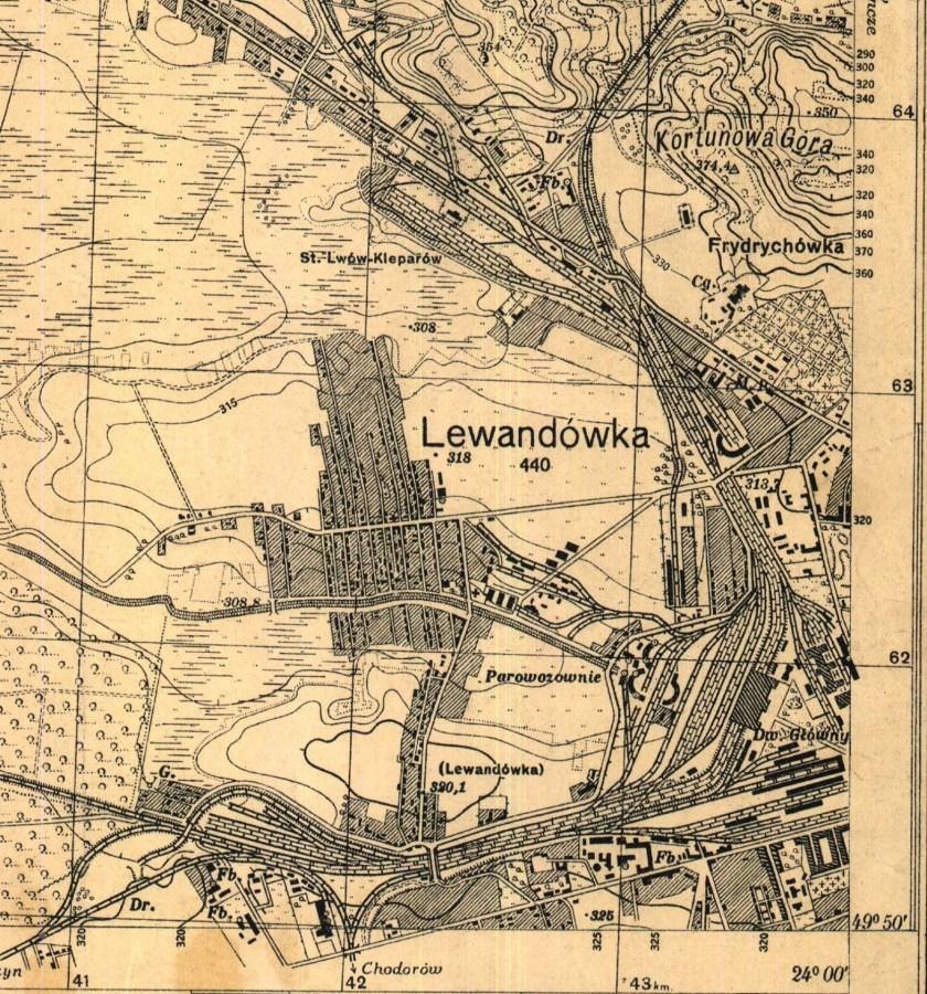 План забудови території колишнього аеродрому на Левандівці. Мапа 1935 року