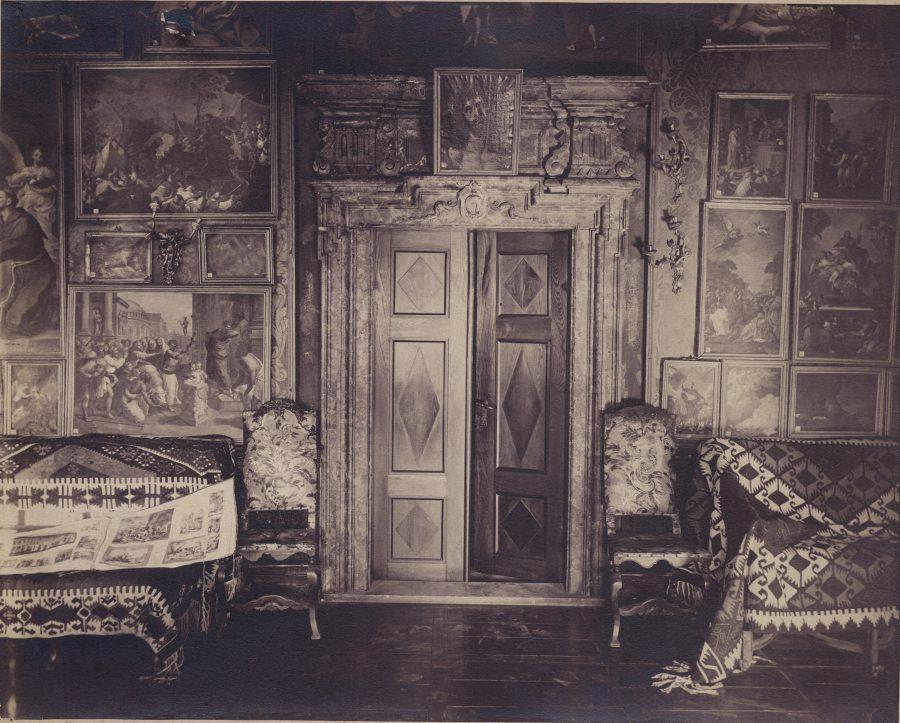 Північна стіна Зеленої зали Підгорецього замку. Фото 1880 року