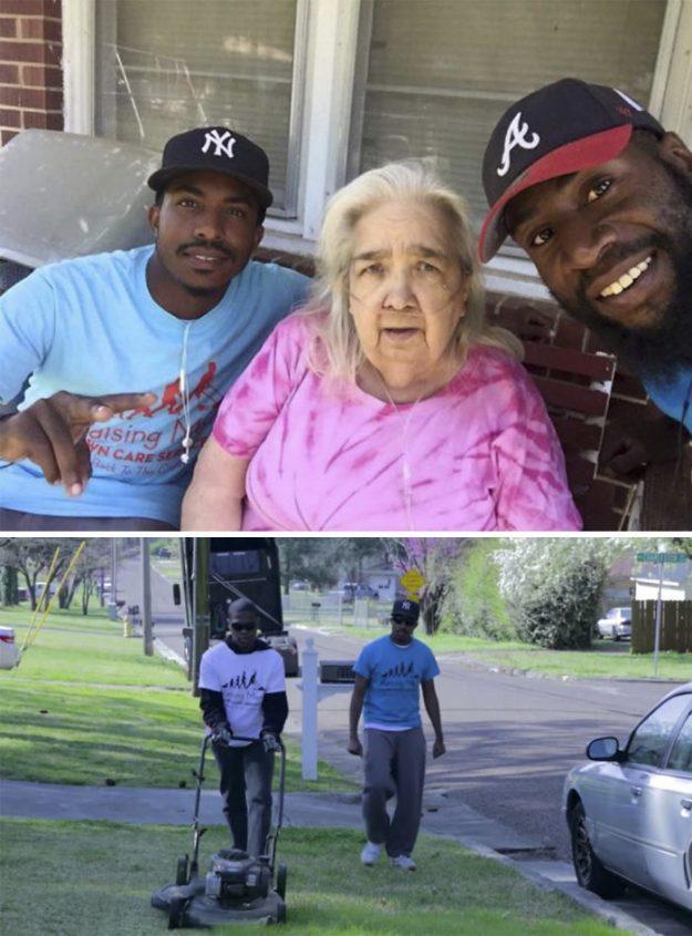 Американські волонтери допомагають людям похилого віку з прибиранням по прибудинкової території