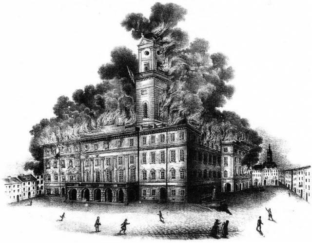 Пожежа Львівської Ратуші 2 жовтня 1848 року Літографія Й.Риделя