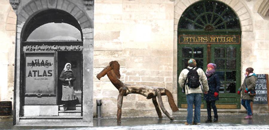 """Кав'ярня """"Атляс"""" наприкінці ХІХ та на початку ХХІ століть © Андрій Польовий"""