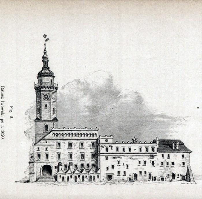 Львівська ратуша в 1620 році (джерело ілюстрації – Лозинський В. «Патриціат і львівське міщанство XVI –XVII ст.»)