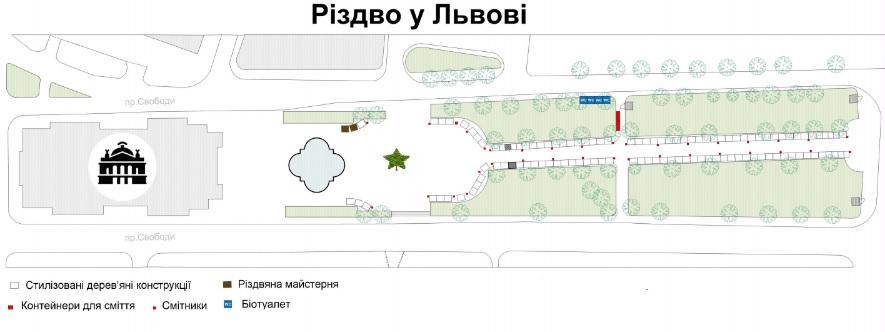Схема Різдвяного ярмарку на проспекті Свободи