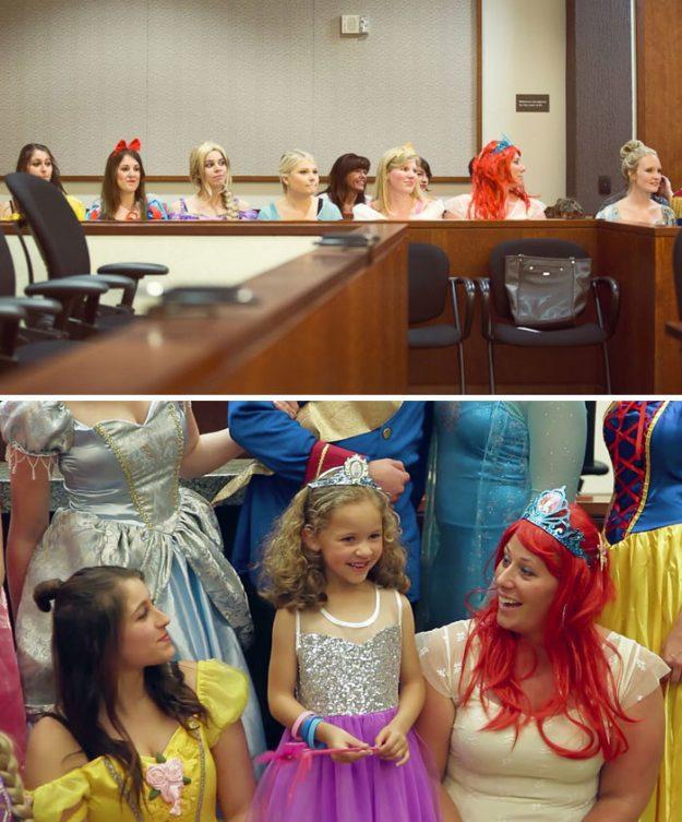 Слухання по удочеріння 5-річної дівчинки. Весь персонал суду убрався в костюми диснеївських принцес.