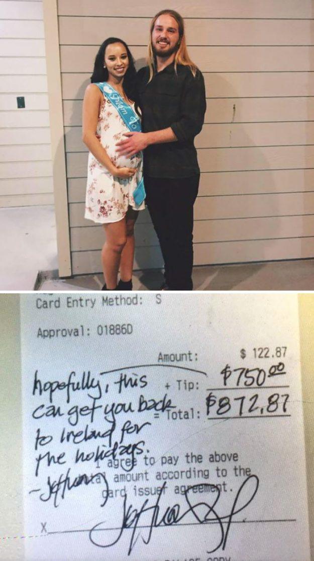 У Техасі офіціант обмовився в розмові з клієнтом, що вже два роки далеко від своєї сім'ї в Ірландії. І той залишив чайові на суму $ 750 в якості розради.