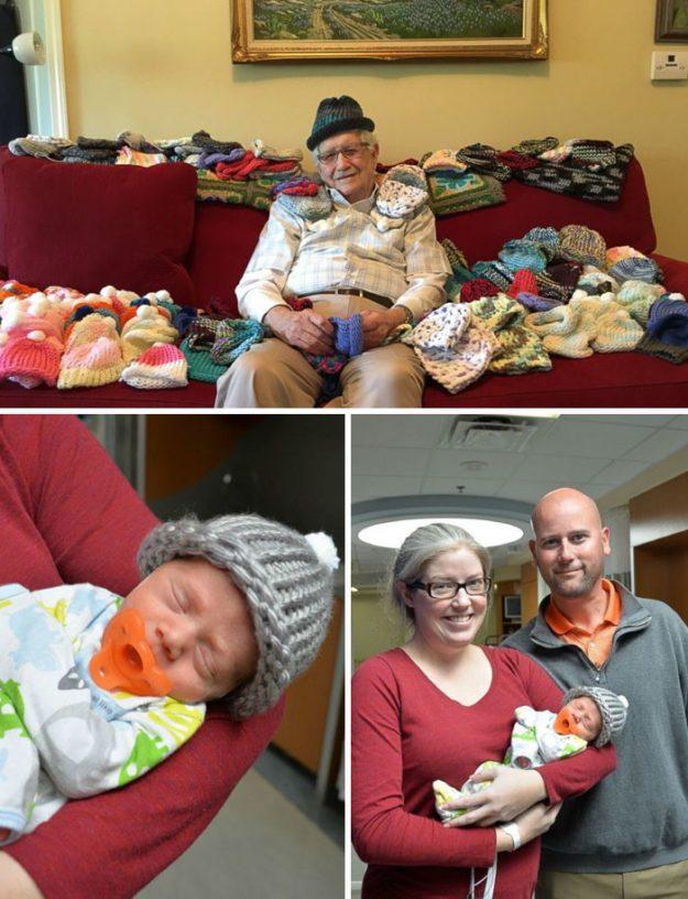 Йому 86 років і він займається тим, що в'яже шапочки для недоношених немовлят