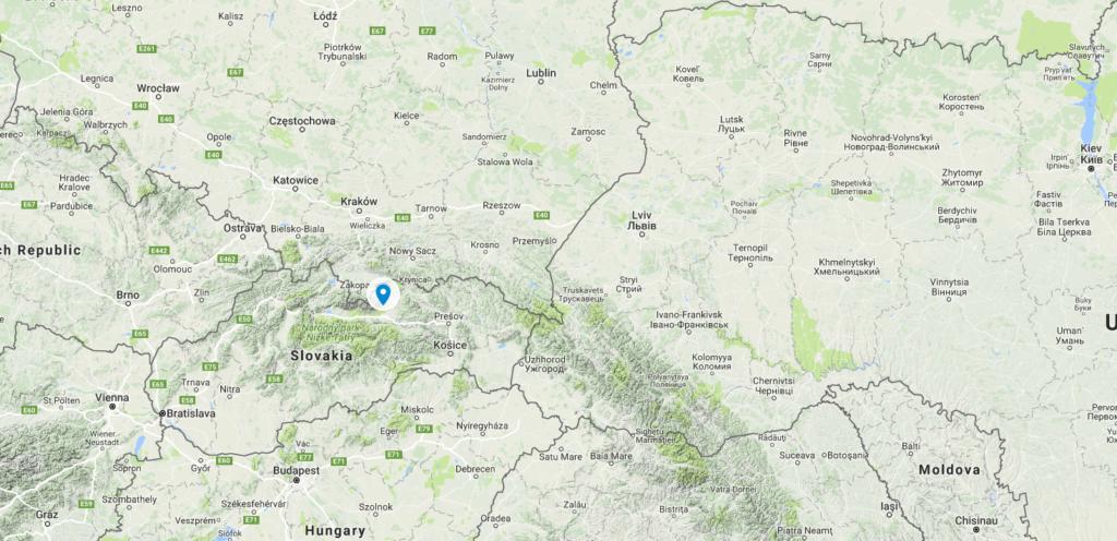карта Словаччини з googlemaps