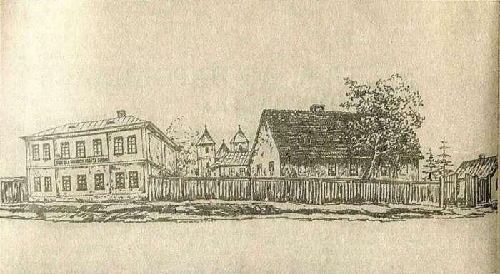 Будівлі притулку для убогих святого Лазаря з нинішньої вулиці Колесси. Рисунок Францішека Ковалишина початку ХХ століття.