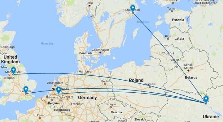 Карта рейсів з Києва: