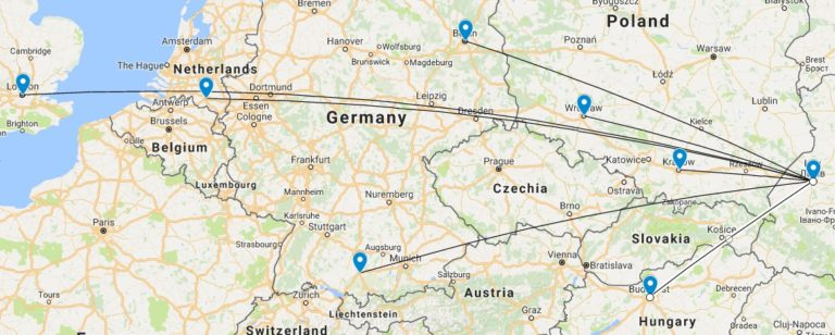 Карта рейсів зі Львова