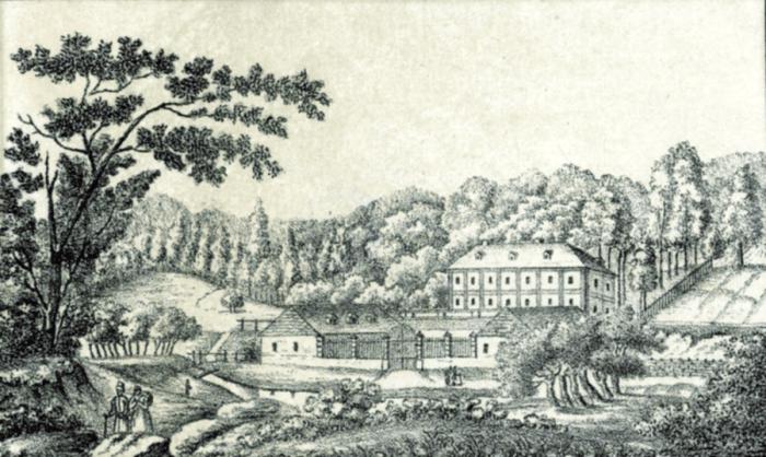 Літографія А.Ланге із зображення пивного саду на Погулянці. Літографія 1823 року