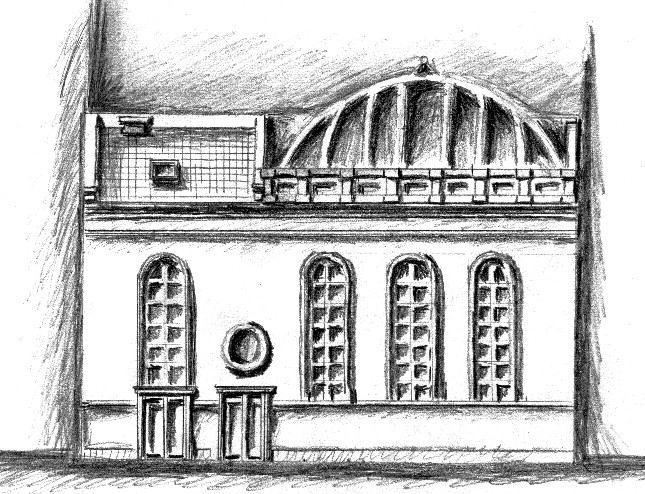 Реконструкція південного фасаду синагоги. Рисунок Й. Гельстона