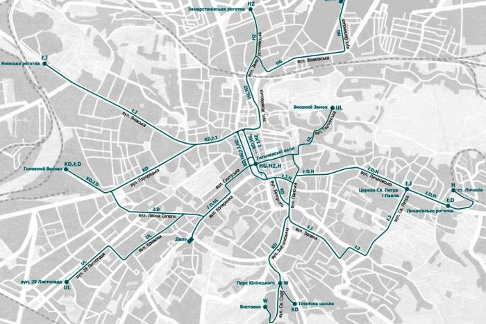 Схема руху трамваїв станом на 1914 рік. Джерело – http://lvivtrans.net/tram.php
