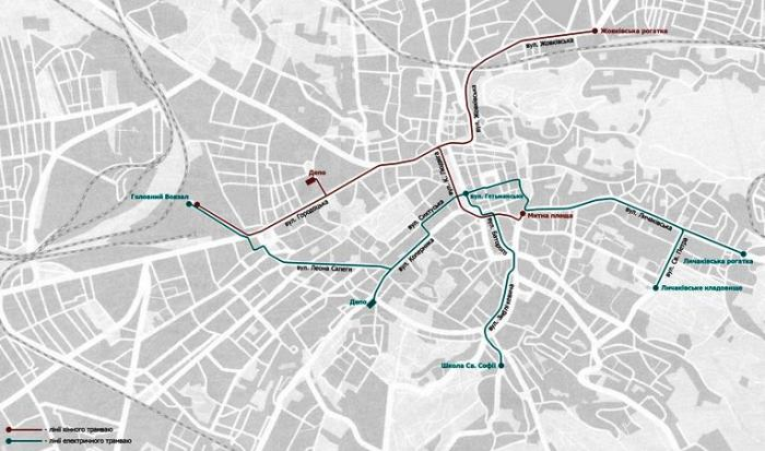 Схема руху трамваю у 1895 році. Джерело – http://lvivtrans.net/tram.php