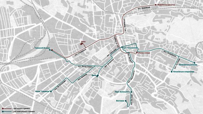 Схема руху трамваю у 1907 році. Джерело – http://lvivtrans.net/tram.php