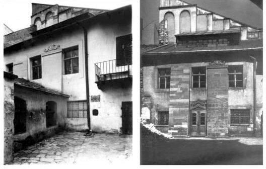 """Синагога """"Золота Роза"""" (синагога Нахмановича, синагога """"Турей Загав"""") 1919 (зліва), 1935 (справа)"""