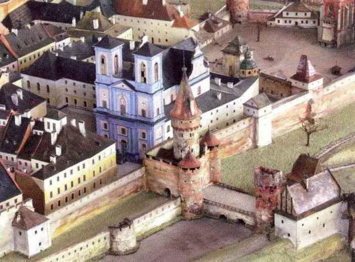Краківська брама у XVII ст., пластична панорама Львова Я. Вітвіцького