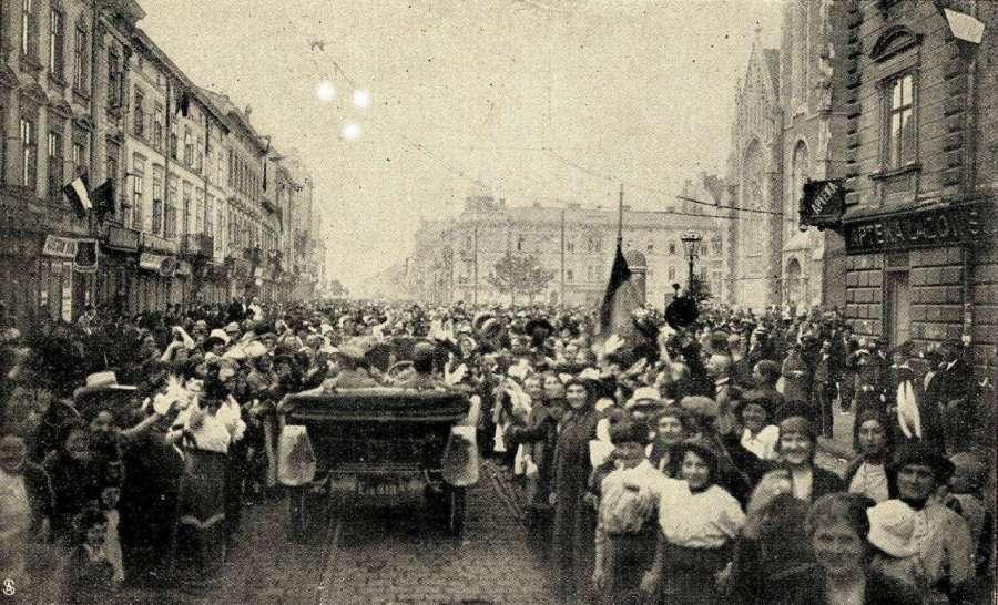 Овації мешканців Львова австрійськім частинам 22.06.1915 р., вул. Городоцька