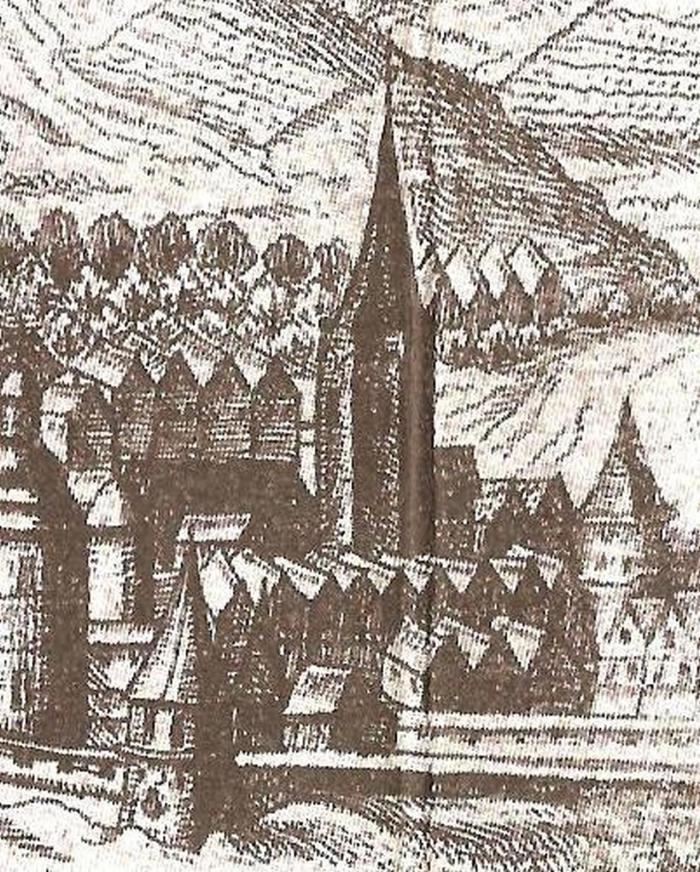 Вежа кушнірів у комплексі Краківської брами, на панорамі 1608 року