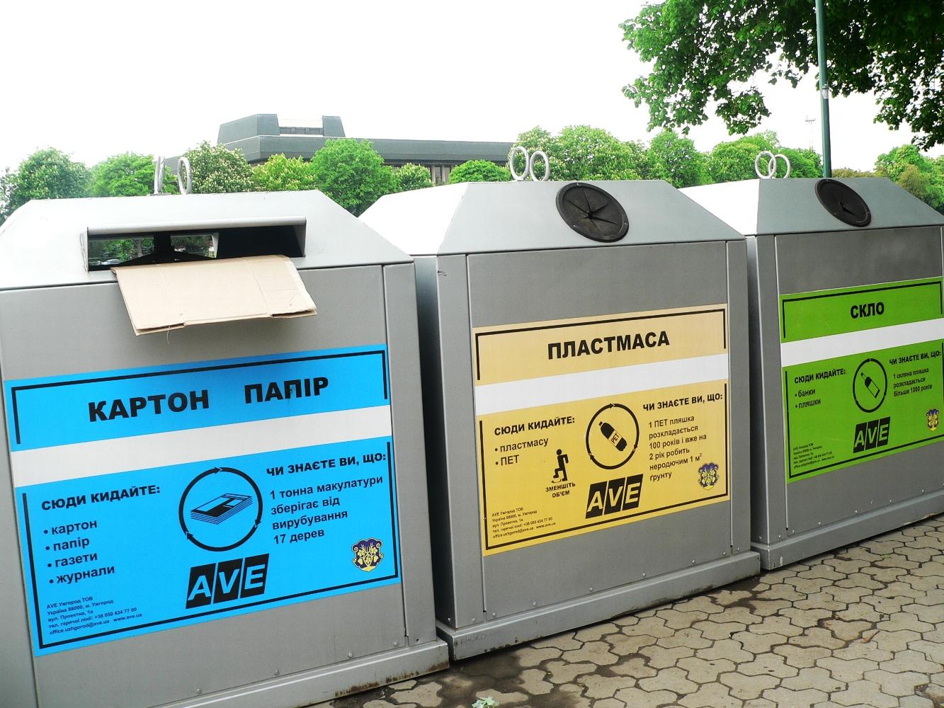 сортування сміття сміттєві баки