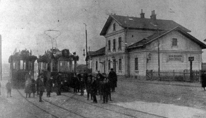 Станція Личаків, під час відкриття трамвайної лінії, 1914 рік