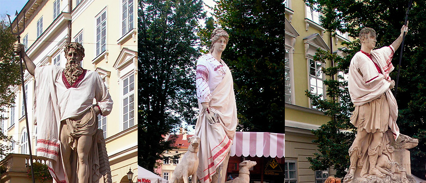 день незалежності львівські статуї у вишиванках