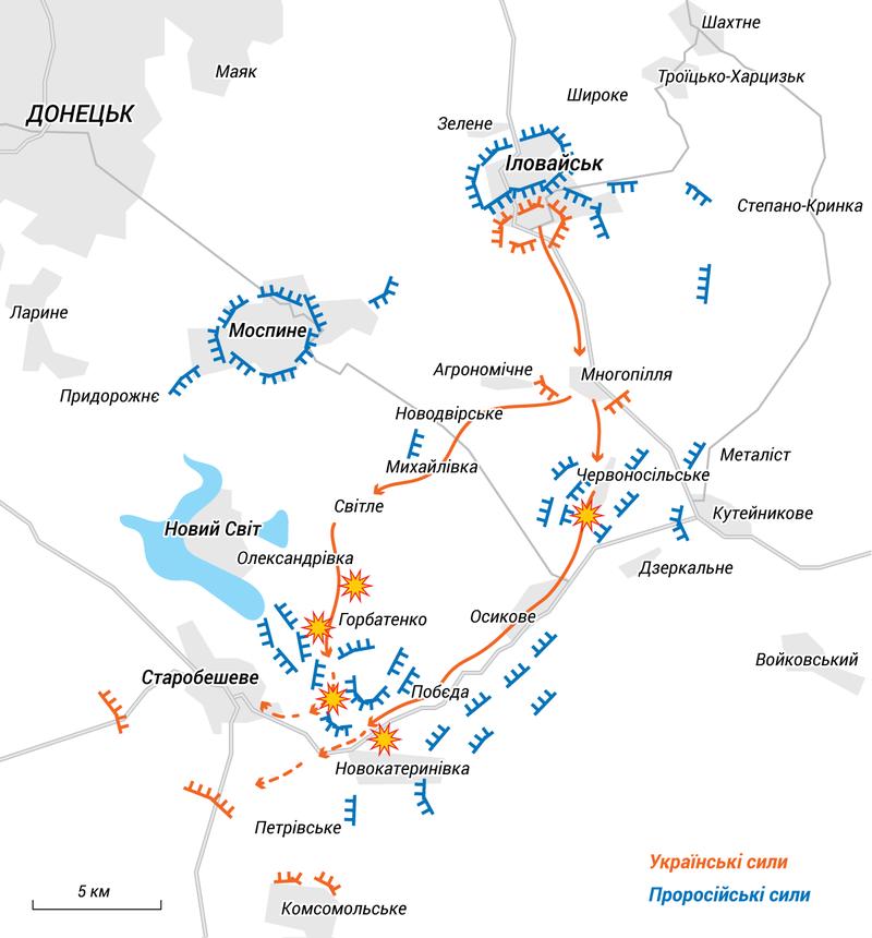 Вихід українських військ з Іловайська. 29 Серпня 2014 р. Джерело: Вікіпедія