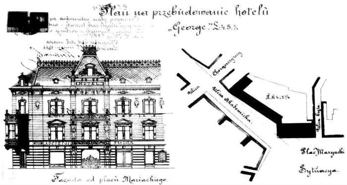 Малюнок А. Каменобродзького реконструкції готелю, 1888 рік