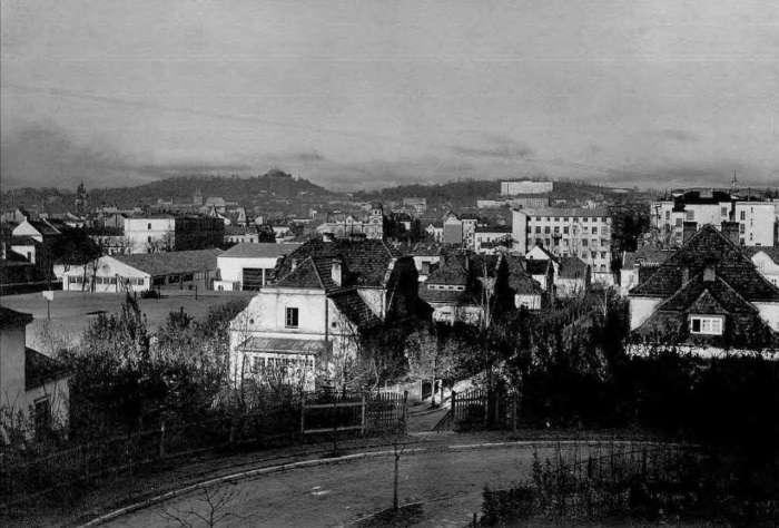 """Вид на """" Офіцерську колонію """" і басейн ( по – центрі ) з нин. вул. Архипенка, фото до 1939 року"""