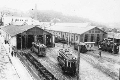 Фото трамвайного депо на розі вул. Сахарова і Вітовського у середині 1920-х років