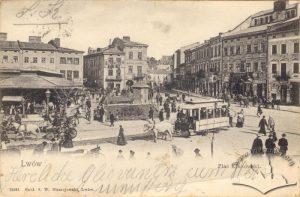 Кінний трамвай на пл. Ярослава Осмомисла, поштівка, 1904-1905 роки.