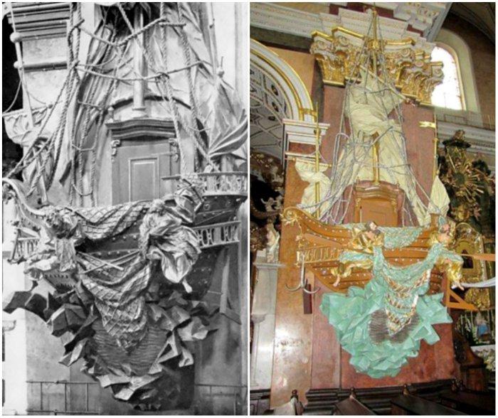 Казальниця в костелі Бердичева у виглядікорабля