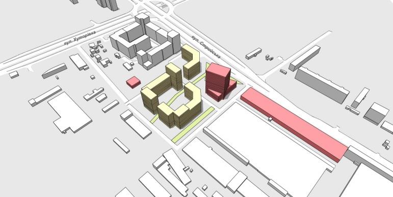 Жовтим кольором позначені майбутні ЖК, рожевим кольором комерційно-офісний центр, а вздовж вул.Стрийської позначене виробниче приміщення