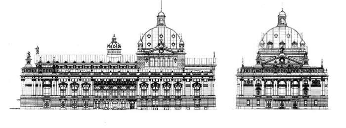 Розріз головного та бічного фасаду Львівської Опери на кресленнях 1896 року