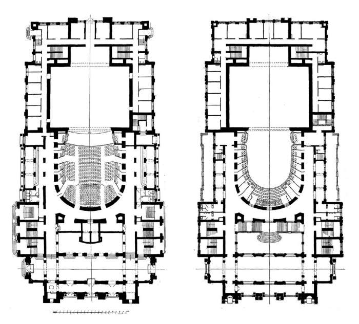 Внутрішнє розпланування будівлі Опери на кресленнях 1896 року
