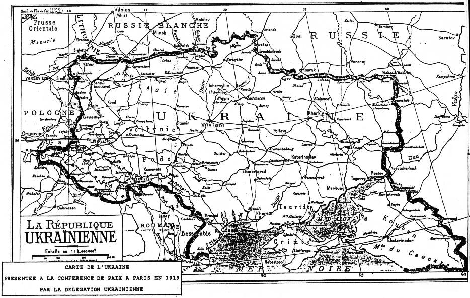 1919 рік Мапа представлена делегацією УНР на Паризькій мирній конференції
