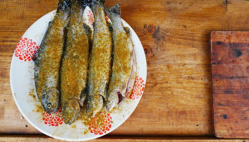 На фото: риба, готова до смаження на вогні. Форелева ферма в Колочаві