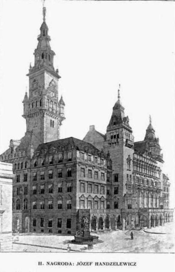 Проект львівської ратуші Йозефа Гандзелевича. 1908 рік