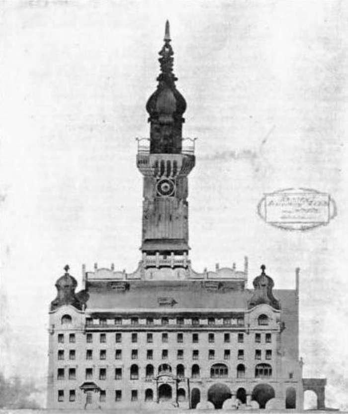 Головний фасад проекту ратуші архітекторів Стриєнського та Манчинського. 1908 рік