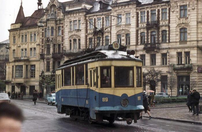 Львів, трамвай на площі Соборній