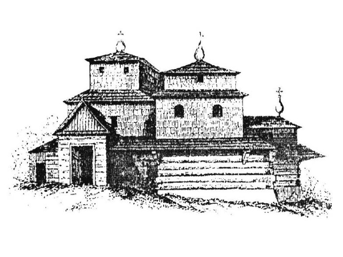 Рисунок старої церкви, опублікований А. Вольфскроном 1858 р.