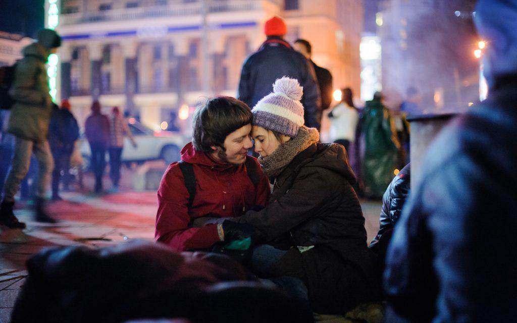 Вечір 29 листопада, перед першою зачисткою Майдану. Фото Piliugin.
