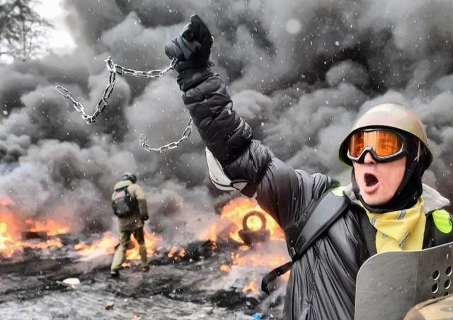 22 січня, продовження протистояння на Грушевського. Фото з сайту ukraine-revolution.tumblr.com.