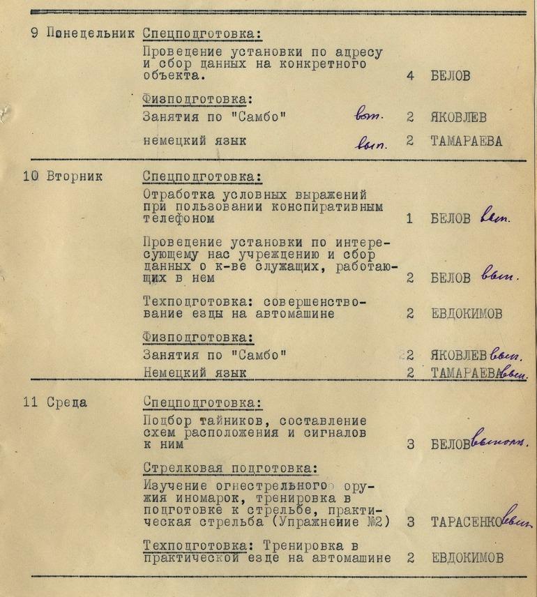 """Розклад занять на 9-11 лютого 1953 року: мовна підготовка, """"самбо"""" і """"підбір тайників, складання схем їх розташування і сигналів до них"""""""