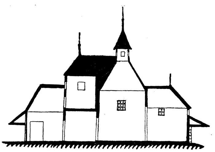 Січинський В. Повздовжний перекрій церкви у Сихові, 1925 р.