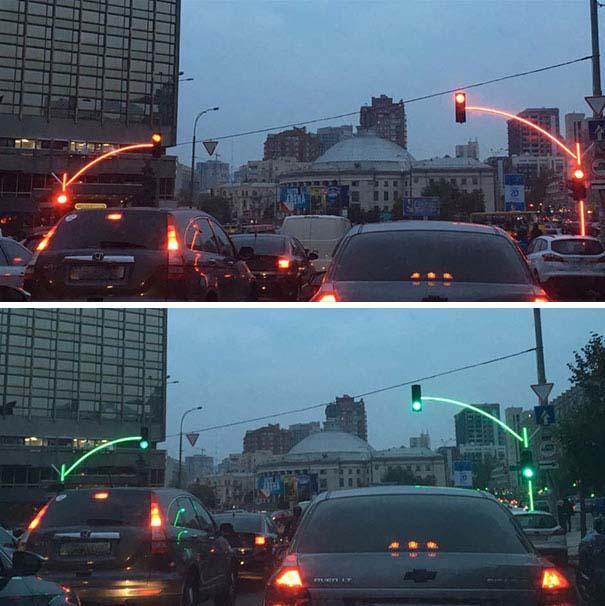 2. Зручні світлофори в Україні, які не заступає великогабаритний транспорт.