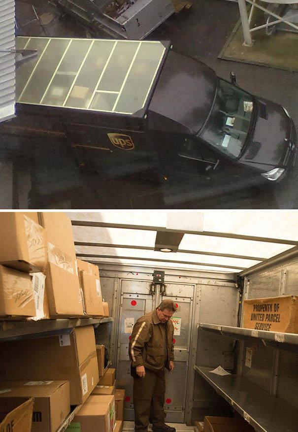 12. Дах на фургонах кур'єрської служби UPS прозорий, щоб вдень не треба було вмикати освітлення всередині.