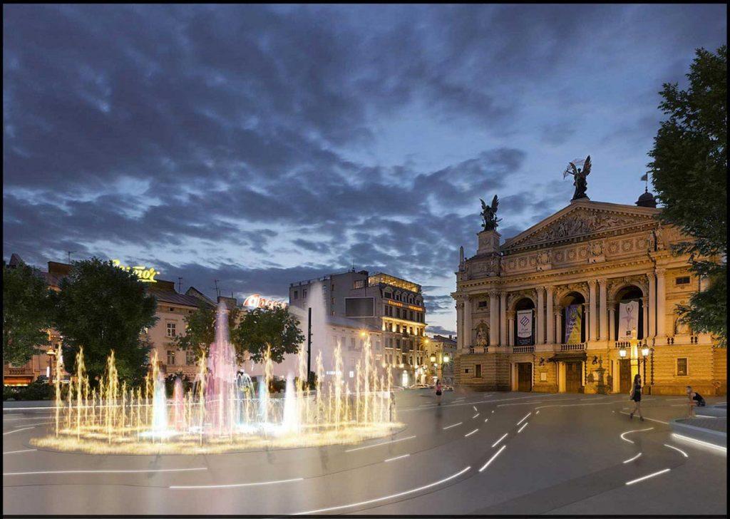 Перед Оперним буде сухий фонтан. Візуалізація